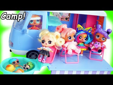 FAKE LOL SURPRISE Dolls go Camping in Slime Swimming Pool Party   #Hairgoals Series 5