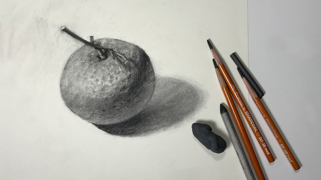 Still life 52 how to draw a mandarin orange with charcoal