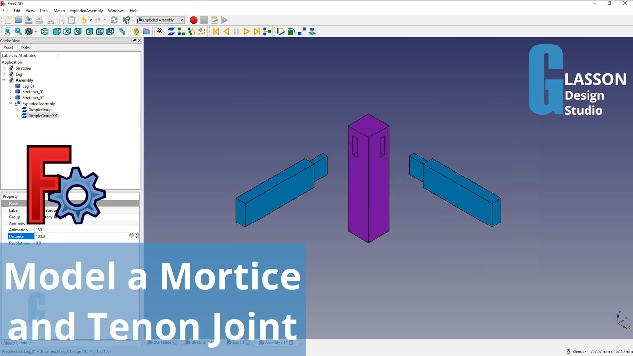 How to model a mortice and tenon joint using FreeCAD