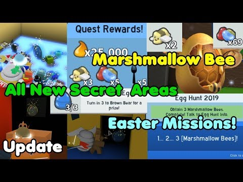 Update! New Secret Areas! Marshmallow Bee! Easter Missions! Egg Hunt - Bee Swarm Simulator Mp3