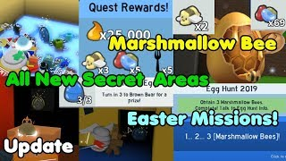 Update! New Secret Areas! Marshmallow Bee! Easter Missions! Egg Hunt - Bee Swarm Simulator