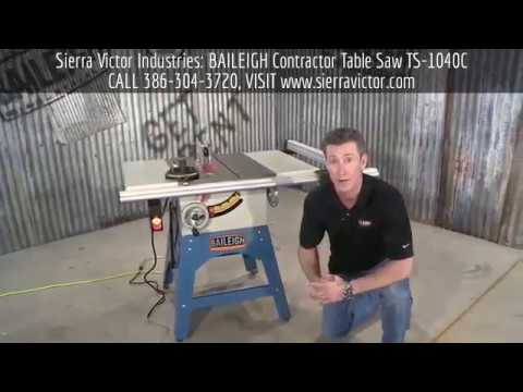 sierra victor machinery baileigh contractor table saw ts 1040c rh youtube com