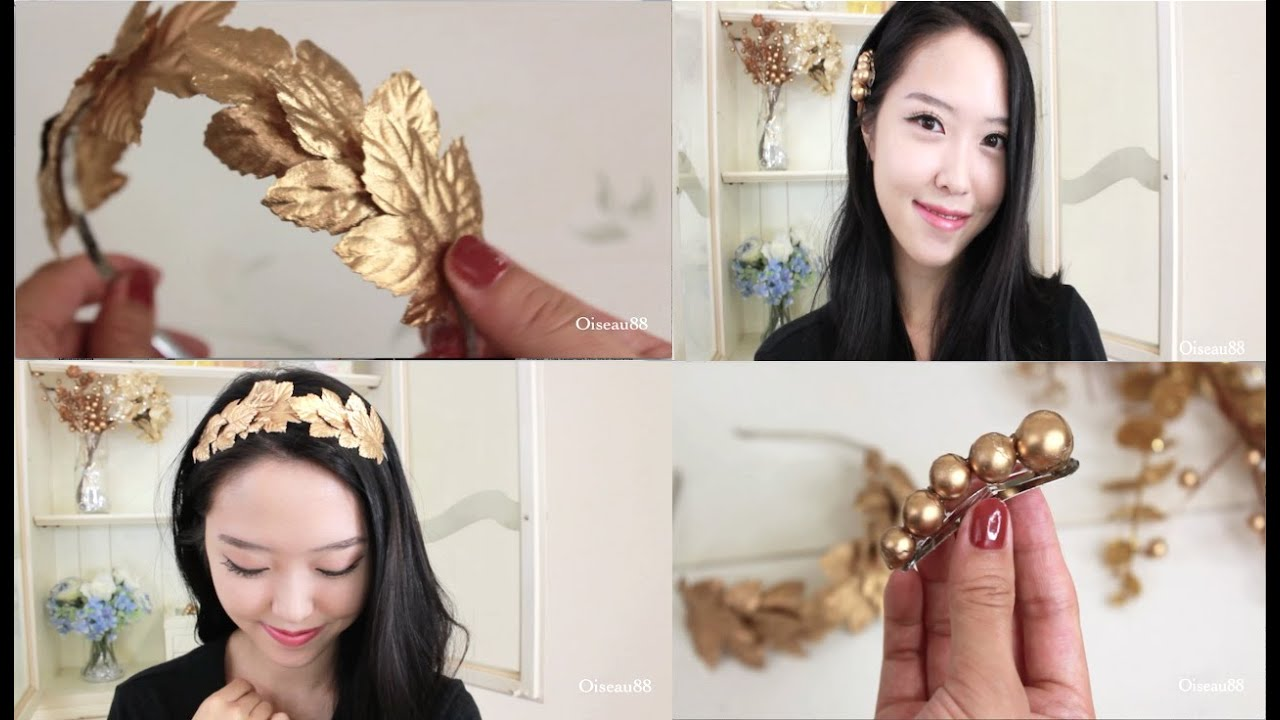 Diy hair accessories gold leaf headband and hair clips youtube solutioingenieria Gallery