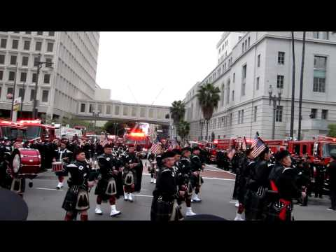 LAFD firefighter Glenn Allen funeral march from LA City Hall