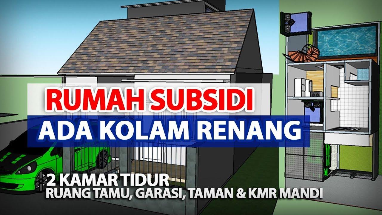 Rumah  Subsidi Plus  Kolam  Renang  Minimalis Sketchup