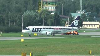 "LOT Polish AIrlines Embraer 175 ""600th E-JET"" Landing Krakow-Balice"