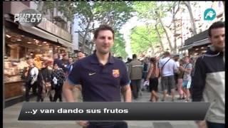 El doble de Messi por Las Ramblas de Barcelona