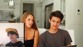 REACTING TO MY CRINGY OLD VINES WITH MY SISTER | Brent Rivera