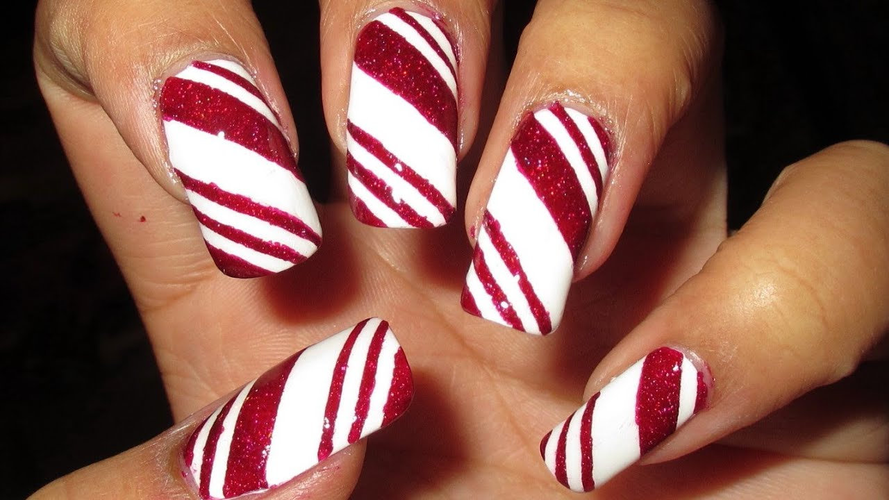 Candy cane nail art tutorial youtube prinsesfo Choice Image