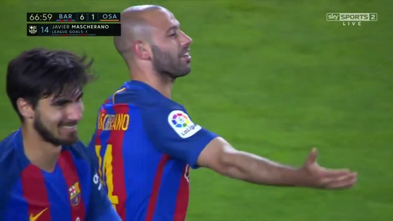Javier Mascherano First Goal for Barcelona Barcelona vs Osasuna 6