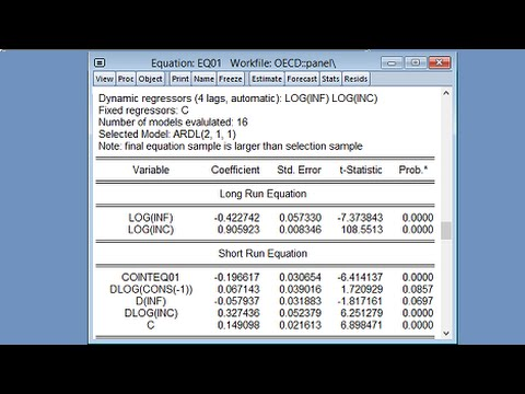 Pooled Mean Group Estimation in EViews - YouTube