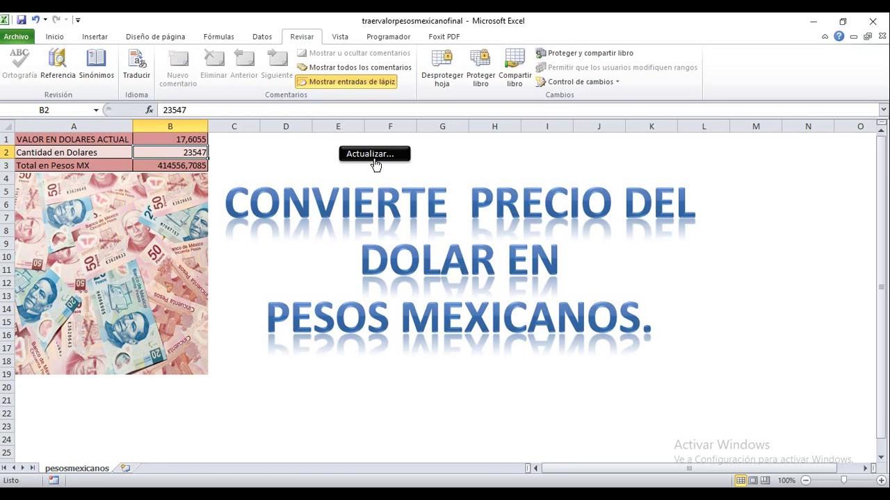 Plantilla Conversión De Dolares A Pesos Mexicanos En Excel