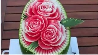 Repeat youtube video Making Flowers Of Cutting Watermelon