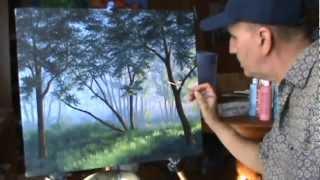 Как рисовать туман в лесу с помощью акрил на холсте