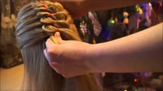 Прическа,коса с лентой из 4 прядей