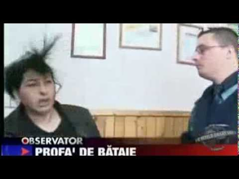Romanian abusive teacher gets hit by police officer