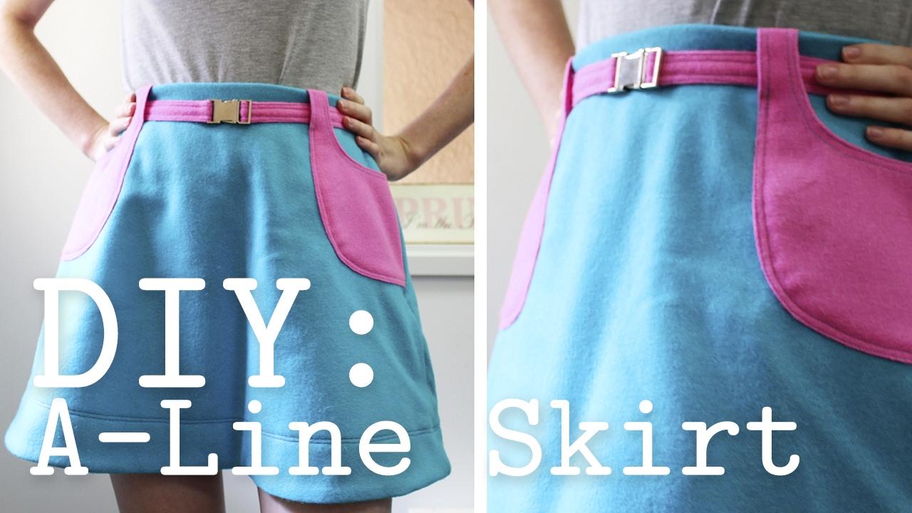 diy a line skirt with pockets belt