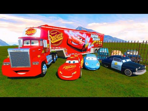 Cars Mack Truck Trailer McQueen Professor Sally The King Chick Hicks Hudson Mater Songs for Kids