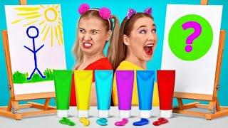 RETO DE DIBUJO || ¡Pinta en la escuela! ¡La mejor dibujando gana! Arte fácil por 123 GO! SCHOOL