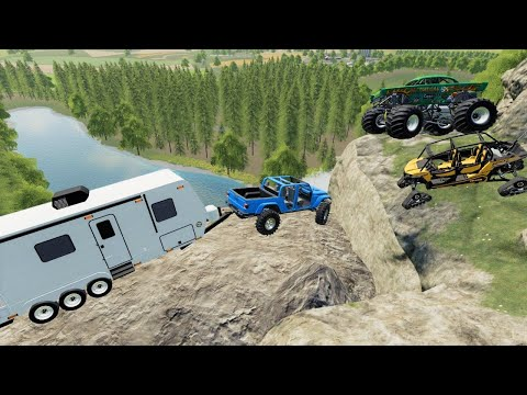 Camping on dangerous mountain with Monster truck | Farming Simulator 19 |