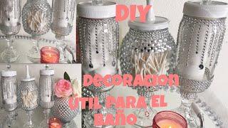 DIY Decoracion juego de baño con frascos reciclados