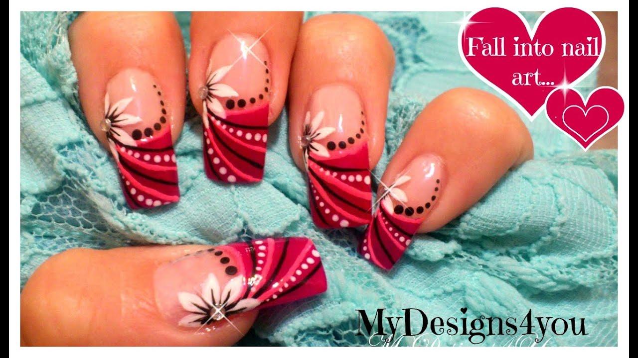 abstract floral nail art design