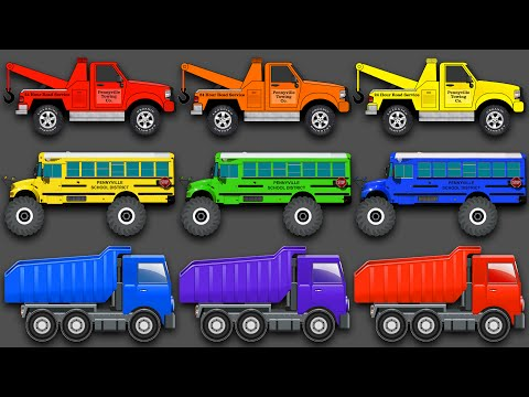 Thumbnail: Mixing Colors Street Vehicles, Construction Equipment & Monster Trucks - Learn Colours for Children