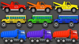 Mixing Colors Street Vehicles, Construction Equipment & Monster Trucks - Learn Colours for Children