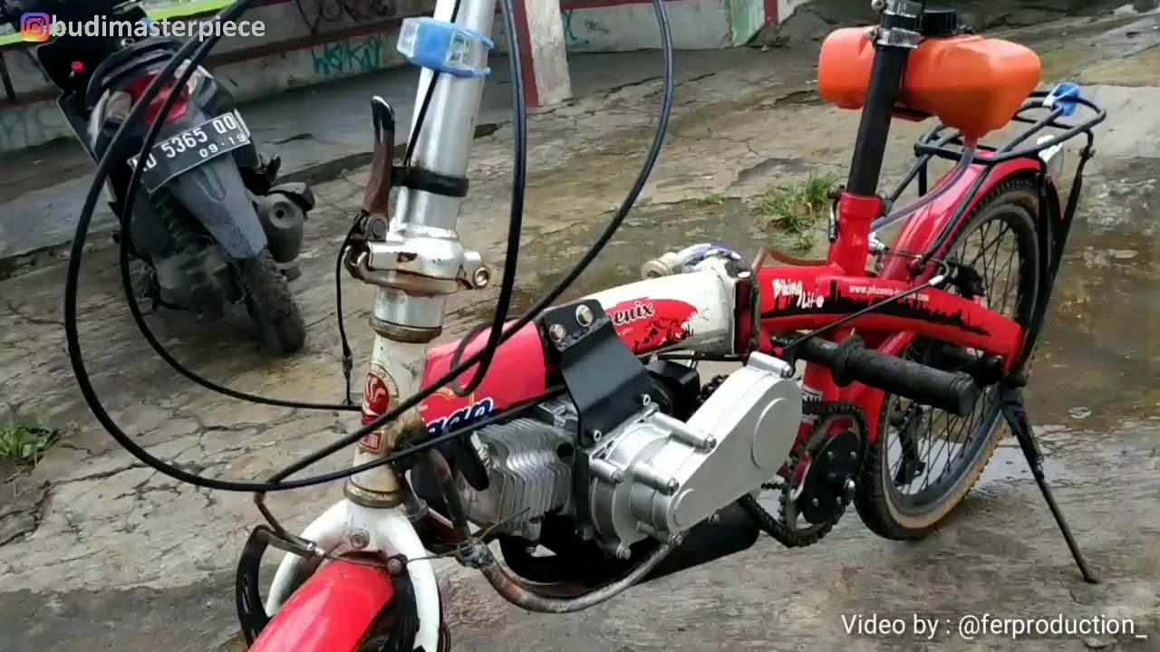 Sepeda Lipat Seli Dimodifikasi Pakai Mesin Motor Mini Di Sukoharjo Jateng Youtube