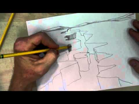 How to Draw a Canyon with River - YouTube