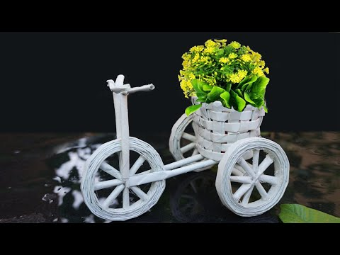 Newspaper craft ideas | Newspaper Cycle Pen Stand | waste material craft