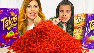hot cheetos and takis fuego challenge