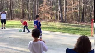 Elliott dribbles the basketball