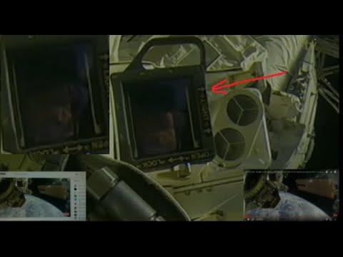 Лицо рептилоида на станции МКС в космосе с прямого эфира, транслируемого NASA (НАСА). Live (2018)