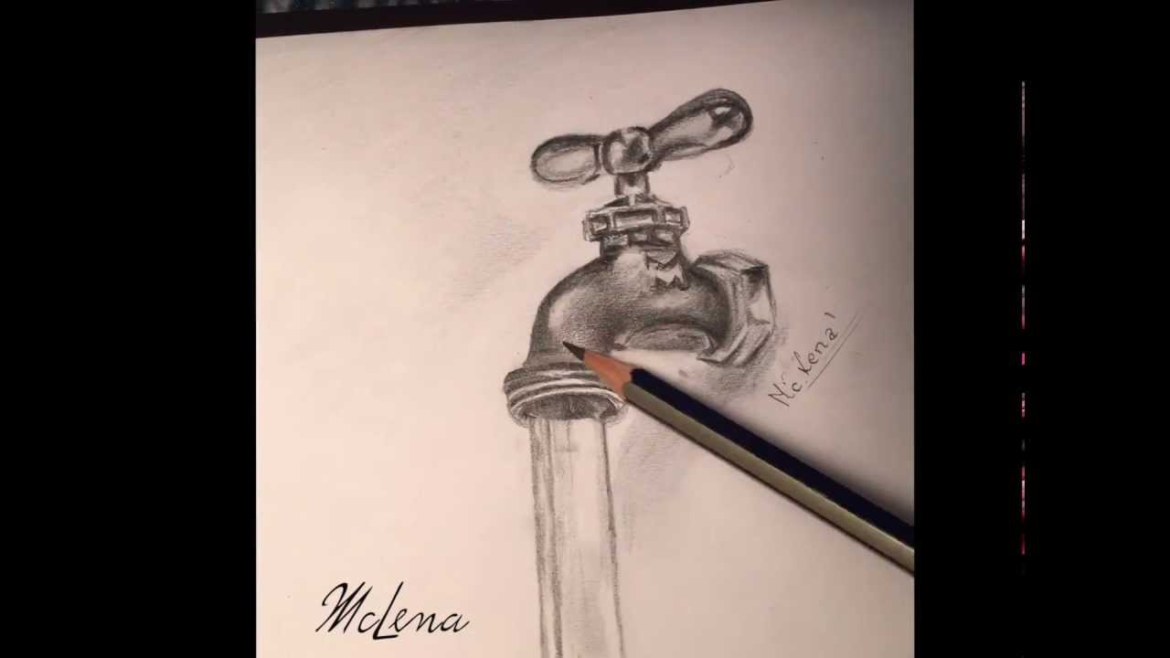 Realistic drawing.faucet.kran.3d rysowanie time-laps, calligraphy ...