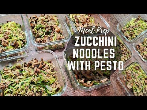 Zucchini Noodles with Basil Pesto Turkey Mushroom meal prep recipe