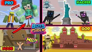 Monster School  GIANT BUILD BATTLE Boys vs Girls  NOOB VS PRO VS HACKER - Minecraft Animation