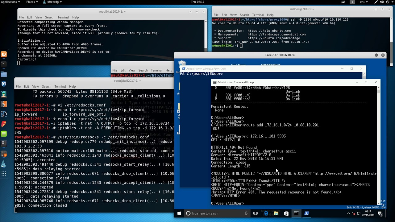 Allowing an attacker network access to a target via a dynamic socks proxy