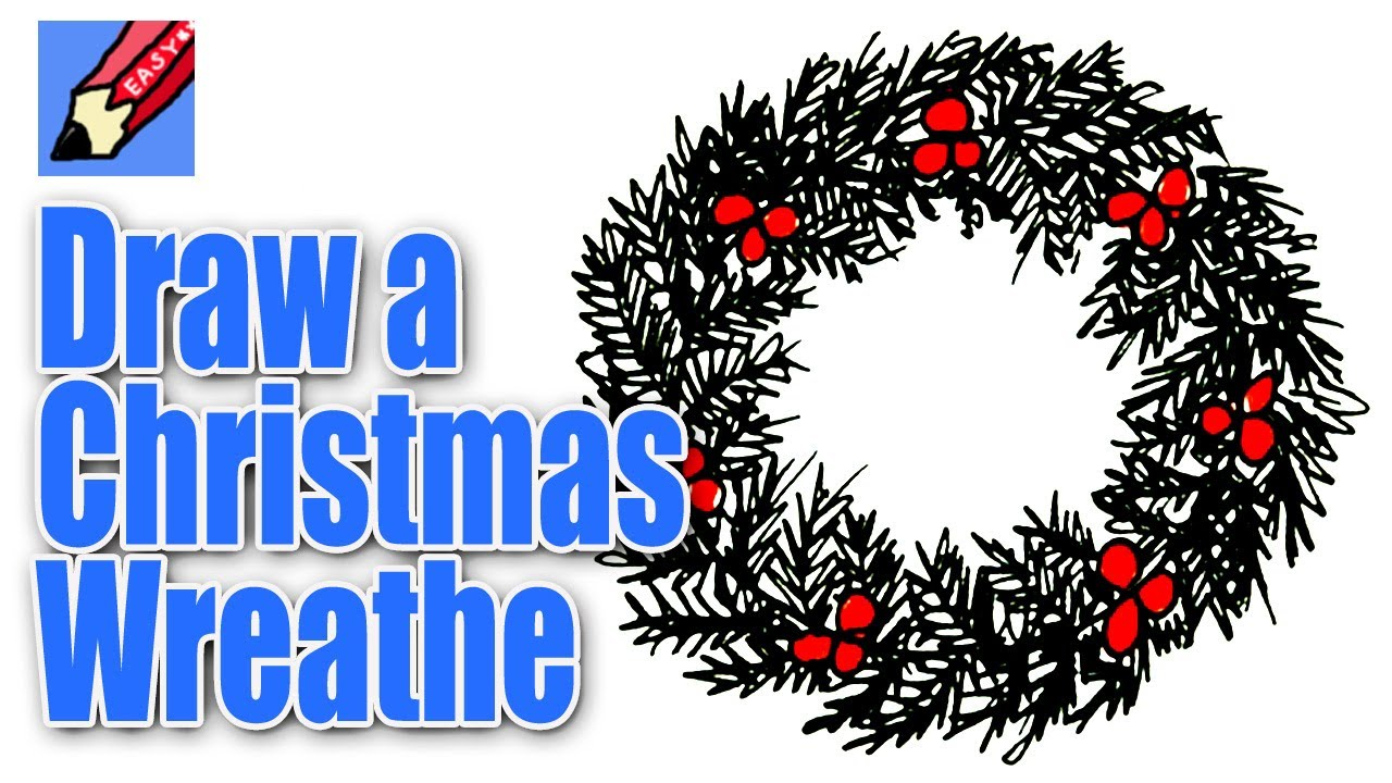 Christmas Wreath Drawing.How To Draw A Christmas Wreath Real Easy