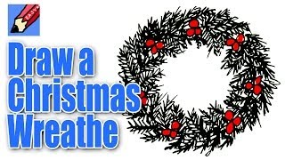 How to Draw a Christmas Wreath Real Easy