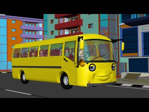 The Wheels on the Bus go round and round  3D Animation English rhyme for children