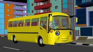 The Wheels on the Bus go round and round - 3D Animation English rhyme for children thumbnail
