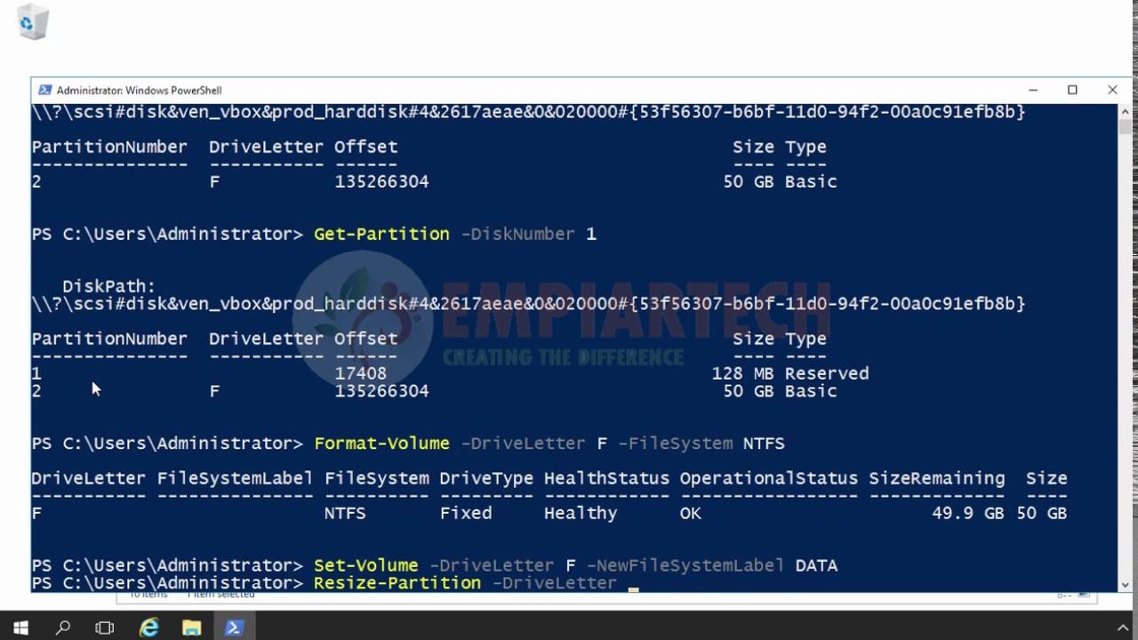 Disk Management Using Windows PowerShell (HINDI)