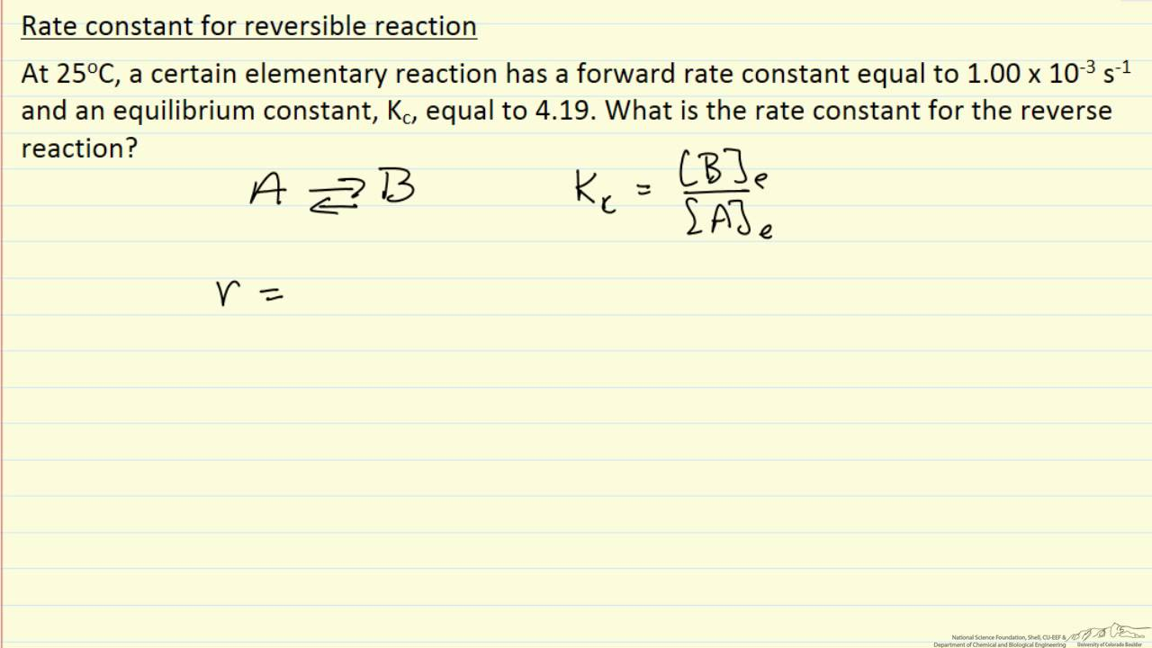 Rate Constant for a Reversible Reaction (Example)