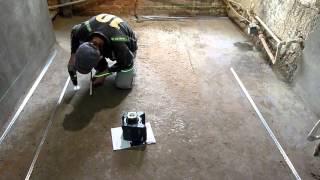 Выставление шурупов под маячки на полу
