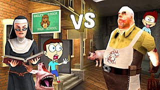 Evil Nun 2 vs Mr Meat - Horror Game | Shiva and Kanzo Gameplay