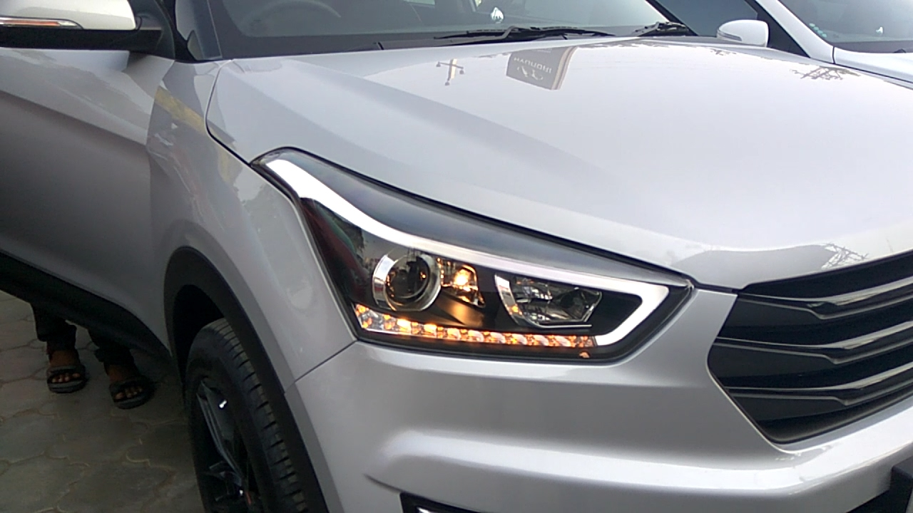 Creta 2017 White >> Creta modified with headlight, seat cover, alloy wheels, roof black, hyundai - YouTube