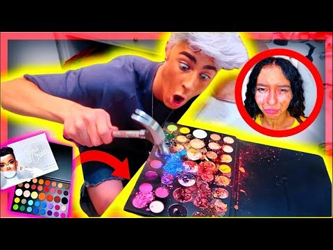DESTROYING my little sisters James Charles palette *she cries