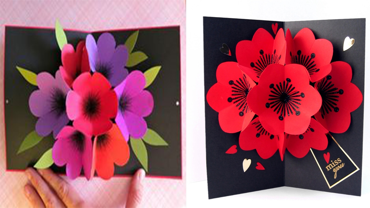 Flower Pop Out Card Flower – Pop out Valentines Day Cards