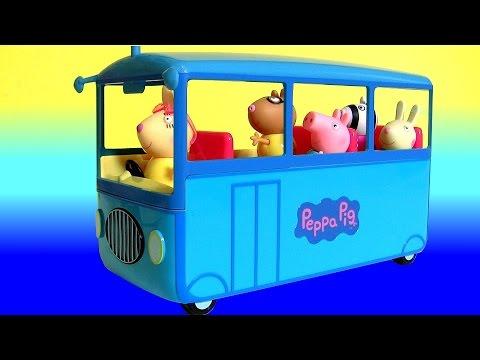 Peppa Pig School Bus Toy Review with Miss Rabbit 2016 - Cerdita Peppa Pig Autobús Escolar